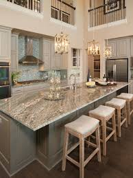 Pictures Of Kitchen Countertops And Backsplashes Extraordinary Gorgeous Two Story Kitchen Granite Countertops Pendant Lighting