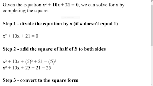 javascript lesson 2 solving a quadratic equation by completing the square