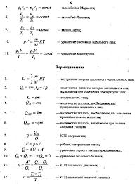 Основные формулы молекулярной физики и термодинамики шпаргалка  основные физические законы и формулы термодинамика