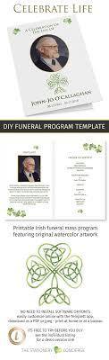 funeral mass program irish catholic funeral mass program template with shamrocks and gold