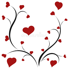 hearts silhouette silhouette of a young tree with red hearts stock vector