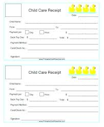 Blank Child Day Care Receipt Template Daycare Format