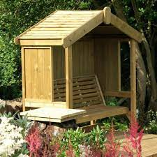 cottage wooden arbour with panelled