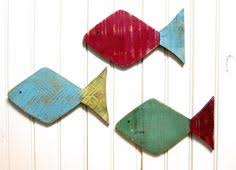painted 9 5 school of fish wall decor made with pallet wood set of 3 on painted wood fish wall art with wooden fish wall art nautical striped pallet fish fish
