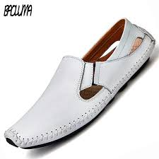 men leather sandals designer driving shoes large size mens slippers casual slip on summer male leather sandals size 38 47 canada 2019 from shoesbuddy