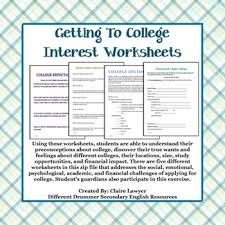 College Worksheet College Counseling Student Interest Worksheets College
