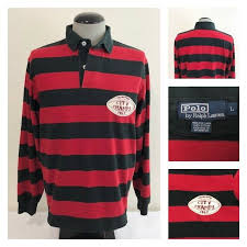 details about polo ralph lauren mens l city champs football patch striped rugby red black rare
