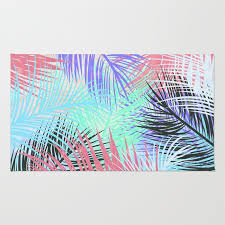 pastel retro tropical pink blue black watercolor palm tree leaves summer pattern rug