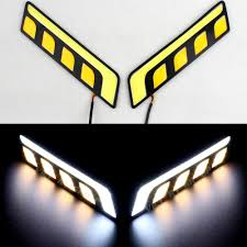 Dual Fog Lights Us 5 58 20 Off Waterproof White Amber Car Light Dual Color Switchback T Shape Cob Led Daytime Running Fog Lights With Turn Signal Drl Kit 25 In Car