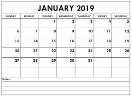 Editable January 2019 Calendar Printable Template