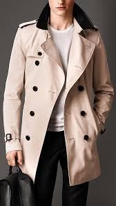 burberry london leather collar cotton gabardine trench coat