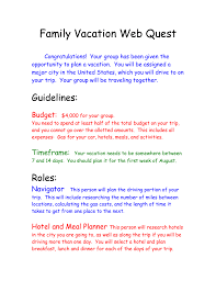 Trip Planner Gas Cost Family Vacation Webquest