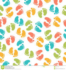 Seamless Pattern With Baby Footprint Stock Vector Illustration Of