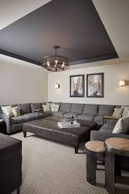 Basement Paint Color: Walls are Benjamin Moore Revere Pewter and the tray  ceiling is Benjamin