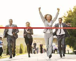Business people running to finish, crossing red line. - Get Local Customers  for Your Local Business