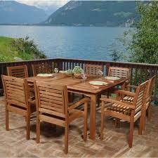 ia livorno 9 piece square eucalyptus wood patio dining set