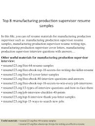 Production Supervisor Resume Resume For Your Job Application