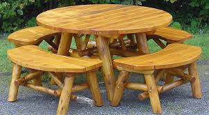 log patio table with benches