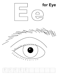 Small Picture E for eye coloring page with handwriting practice Download Free