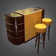 Bar Table And Stools Art Deco Pbr Game Ready 3d Model