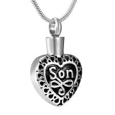 j 2003 stainless steel cremation urn pendant with chain heart son