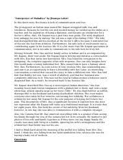 interpreter of maladies quotes steven iannacci professor bicks  2 pages interpreter of maladies