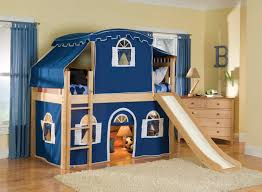 ... Stunning Image Of Awesome Kid Bedroom Design And Decoration Using Wheel  Blue Fabric Bedroom Chair Including Blue Red Tent Oak Wood Kid Bunk Bed And  ...