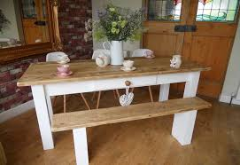 image of painted farmhouse dining table with bench