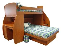 brown polished maple wood loft bunk bed using assorted plaid pattern bed linen built in desk furniture bed and desk combo furniture