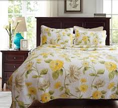 cotton quilting quilts Europe export quality bedspread 3pcs set ... & cotton quilting quilts Europe export quality bedspread 3pcs set luxury  bedcover yellow rose printed quilt cheap Adamdwight.com