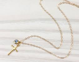 evil eye necklace gold cross necklace cross pendant blue evil eye necklace