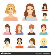 女性のヘアスタイルの種類は漫画デザインのセットのコレクションの