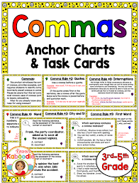 Comma Rules Anchor Charts And Task Cards Tpt Language Arts