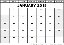 calendar january 2018 template january 2018 calendar monthly calendar 2017