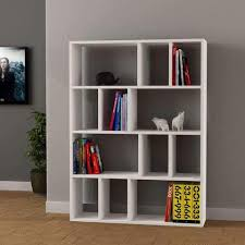 White modern bookshelf Elegant Minimalist Contemporary Bookcase Modern Bookshelf In White Grey Red Mocha Colours Kairasico Up To 70 Off Bookcases