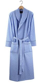 Tom Dick and Harry | Oxford Blue Men's Quilted Wax Cotton Jacket ... & Men's Lightweight Cotton Dressing Gown - Blue Stripe Adamdwight.com