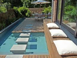 Small Pool Design For Amazing Backyard Patio Ideas And Dining Table  Decorating With Wooden Floor