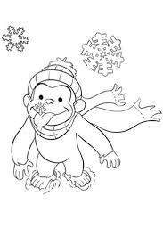 Winter Snow Curious George Coloring Pages