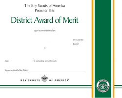 District Award Of Merit Certificate Boy Scouts Of America