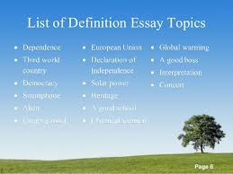 definition essay topics list co definition essay topics list