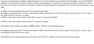 Solved You Are An Entrepreneur Starting A Biotechnology F
