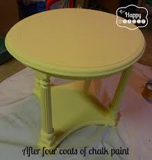after four coats of chalk paint diy chalk paint side table at thehappyhousie