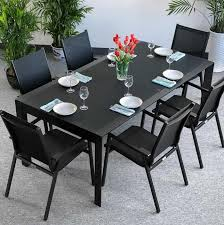 sharp lines make this violet 6 seater black extending dining table perfect for your home