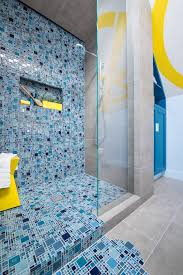 photos blue mosaic tile spills from shower onto floor to with modern tiles
