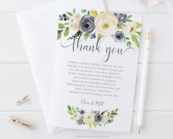 Wedding Thank You Notes Templates Wedding Thank You Note Printable Thank You Card Template
