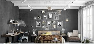 Urban Bedroom With Grey Walls And Collage Artworks