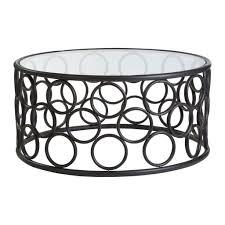 Steel Coffee Table Frame Antalya Round Coffee Table Black Metal Frame Glass Top Round