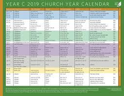 Year To Year Calendar Church Year Calendar 2019 Year C