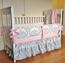 crib bedding baby girl set pink gray damask made to with regard for remodel 11