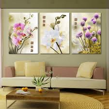 Small Picture 3 Piece Modern Flower Painting Purple Pink White Flowers Orchid